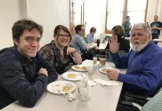 Students, faculty and staff mingled at the 2018 LAS Week Sociology Pancake Breakfast.